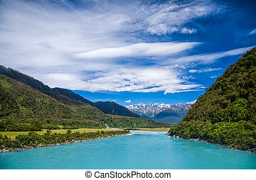Milky blue glacial water of Whataroa River in New Zealand