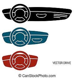 Three icons car dash boards
