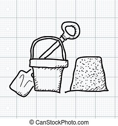 Simple doodle of a bucket and spade