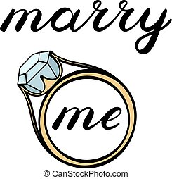 Marry me lettering. Cute handwriting