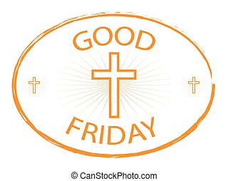 Good Friday gold stamp with cross - Good Friday gold stamp...