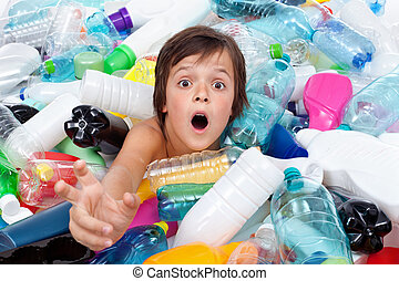Drowning in the plastic flood - boy reaching out for help...
