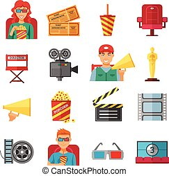 Flat Color Cinema Decorative Icons Collection - Flat color...