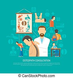 Osteopathy Design Concept - Osteopathy flat design concept...