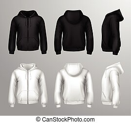 Black And White Male Hooded Sweatshirts - Set of black and...