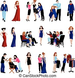 Fashion model catwalk icons - Fashion model flat icons set...
