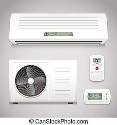 Air Conditioner Set - Air conditioner realistic set with...