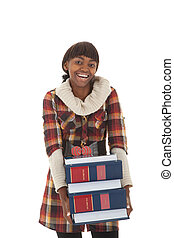 Student income tax - Young black female student carrying...