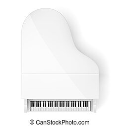 Piano - Top View of White Grand Piano on White Background