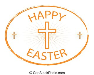happy easter day stamp with cross 1