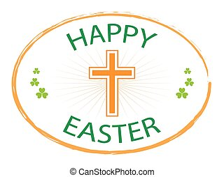 happy easter day stamp with cross 2