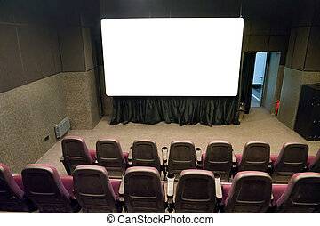 Empty stage in the small movie theater