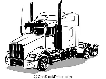 American Truck - Black Outlined Illustration, Vector