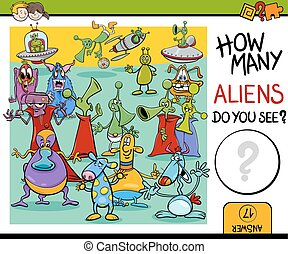 counting aliens task for kids - Cartoon Illustration of...