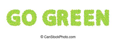 vector word go green with leaves on a white