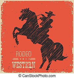 Cowboy riding wild horseWestern poster on red background for...
