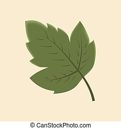 Grape leaf icon on the yellow background. Vector...