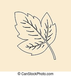 Grape leaf icon on the yellow background Vector illustration...