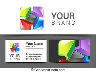 abstract decorative multicolor business card for your business logo