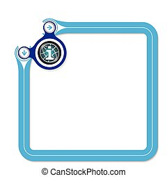 Blue frame for your text and globe symbol and info symbol