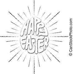 Happy Easter lettering - Hand drawing lettering Happy Easter...