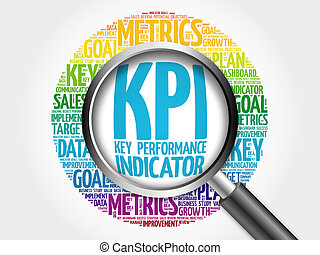 KPI - Key Performance Indicator word cloud with magnifying...