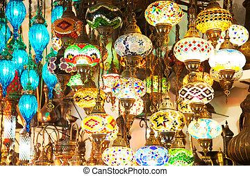 Hanging lanterns, colorful wallpaper
