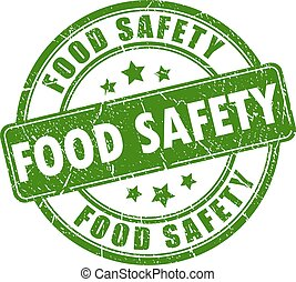 Food safety rubber stamp isolated on white background