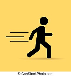 Running person icon isolated on yellow background