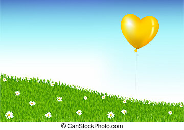 Balloon Above Grass Hill With Camomiles - Heart Shape...
