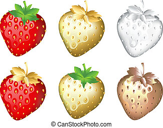 Strawberry Set, Isolated On White - Strawberry Set: Fresh,...