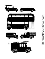 vintage vehicles - collection of vintage vehicle silhouettes