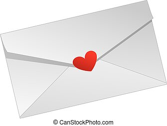 Love Letter - a white love letter with a red heart