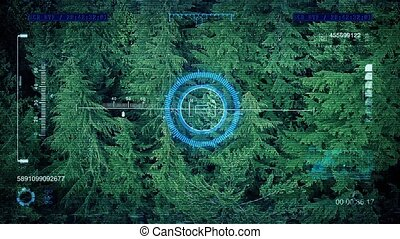 HUD Display Flying Over Forest Tree - View from drone...