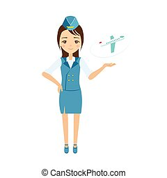 Stewardess Vector Illustration - Stewardess Flat Vector...