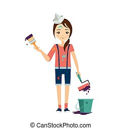 Painter Vector Illustration - Painter Flat Vector...
