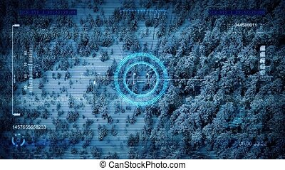 Drone HUD Fly Over Winter Forest - Military drone display of...