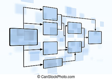 Business Blue Flow Chart - abstract businessl blue flow...