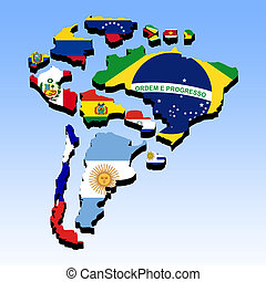 South America 3 - Illustration of the countries of South...