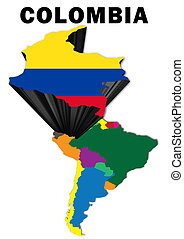 Colombia - Outline map of South America with Colombia raised...