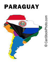 Paraguay - Outline map of South America with Paraguay raised...