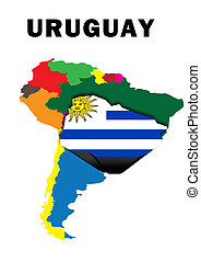 Uruguay - Outline map of South America with Uruguay raised...