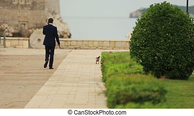 Groom walking the dog on sunny alley in Montenegro, Budva -...