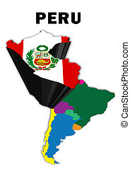 Peru - Outline map of South America with Peru raised and...