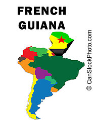French Guiana - Outline map of South America with French...