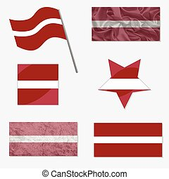Set with Flags of Latvia