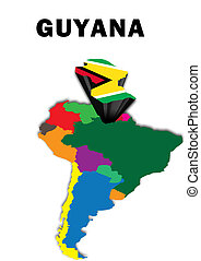 Guyana - Outline map of South America with Guyana raised and...