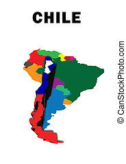 Chile - Outline map of South America with Chile raised and...