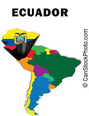 Ecuador - Outline map of South America with Ecuador raised...