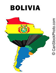 Bolivia - Outline map of South America with Bolivia raised...